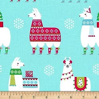 Michael Miller Llama Navidad Aqua Fabric by The Yard