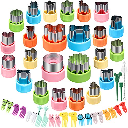 24 pcs Vegetable Cutter Shapes Sets CECIAOAIME Cookie Cutters Fruit Stamps Mold with 20 pcs Food Picks and Forks for Kids