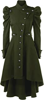 Nihsatin Vintage Womens Steampunk Victorian Swallow Tail Long Trench Coat Jacket Thin Outwear