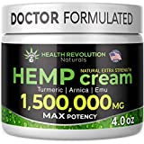 Extra Strength Hemp Cream for Pain Relief – Only 3rd Party Tested Product to Verify Strength/Results. All Natural for Nerve-Sciatic, Muscle, Back Pain & Inflammation, with Arnica, MSM, Emu, Turmeric