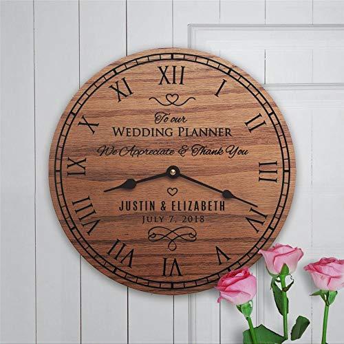 Reloj de pared redondo de madera para planificador personalizado de novia y pareja G, 30,48 cm redondo de madera colgante reloj de pared para la sala de estar, cocina, dormitorio y oficina.