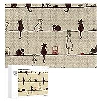 猫の影 300ピースジグソーパズル木製パズル 子供 グッズ 初心者向け ギフト 人気 減圧知育玩具大人 耐久性 高級印刷 無毒 無臭 無害 難易度調整可能 プレゼント