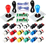 2 Players Arcade DIY Parts Kit for Mame/PC/Raspberry Pi/PS3/Jamma/Windows System/Arcade Controllers Project, 2X USB Encoder + 2X Bat Top Joystick + 18x American Style Push Buttons (Mix Color)