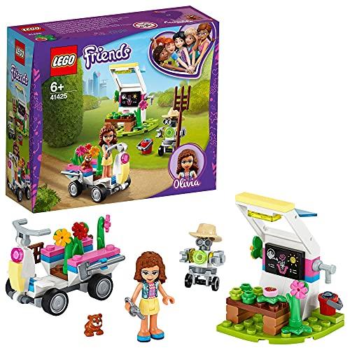 LEGO 41425 Friends Olivias Blumengarten Spielset mit Gartengeräten, Zobo Roboterfigur und Spielzeug-Wagen zum Sammeln von Pflanzen
