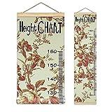 子供身長計 壁掛け 身長測定 子供の成長記録 木製 花柄 子供部屋の装飾 測定範囲60-160cm 北欧インテリア おしゃれ