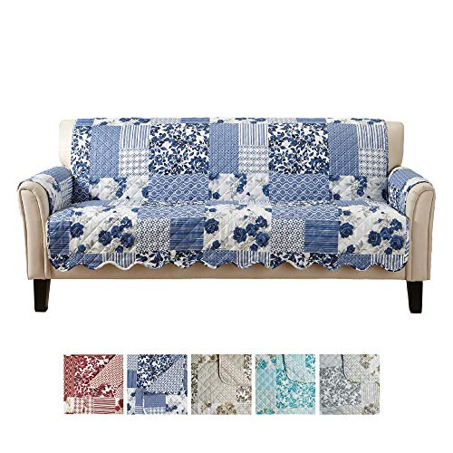 Great Bay Home Patchwork Scalloped Printed Furniture Protector. Stain Resistant Couch Cover. (Sofa, Navy)
