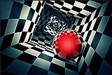 Muralo 1209606139 - Papel Pintado con Bola 3D en un túnel de Vinilo Perspectiva para Proyecto geometría