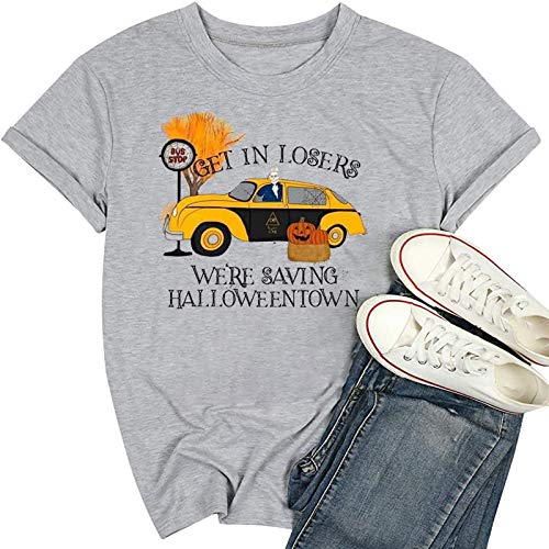 Camiseta divertida de Halloween con diseo de calabaza de Halloween para mujer - Gris - Small