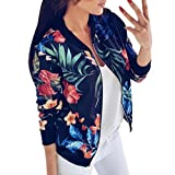 Gillberry Women Stand Collar Long Sleeve Zipper Floral Printed Bomber Jacket (Blue, L)