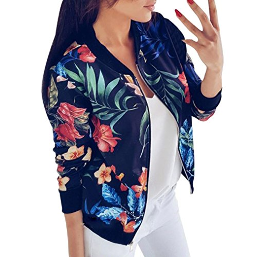 Gillberry Women Stand Collar Long Sleeve Zipper Floral Printed Bomber Jacket (Blue, M)