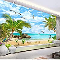 海景ココナッツの木砂浜3D写真壁紙リビングルームの寝室の装飾防水ステッカー壁画-250X175CM