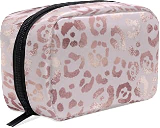 ALAZA Rose Gold Leopard Travel Makeup Cosmetic Case Portable Toiletry Storage Bags for Women Girls