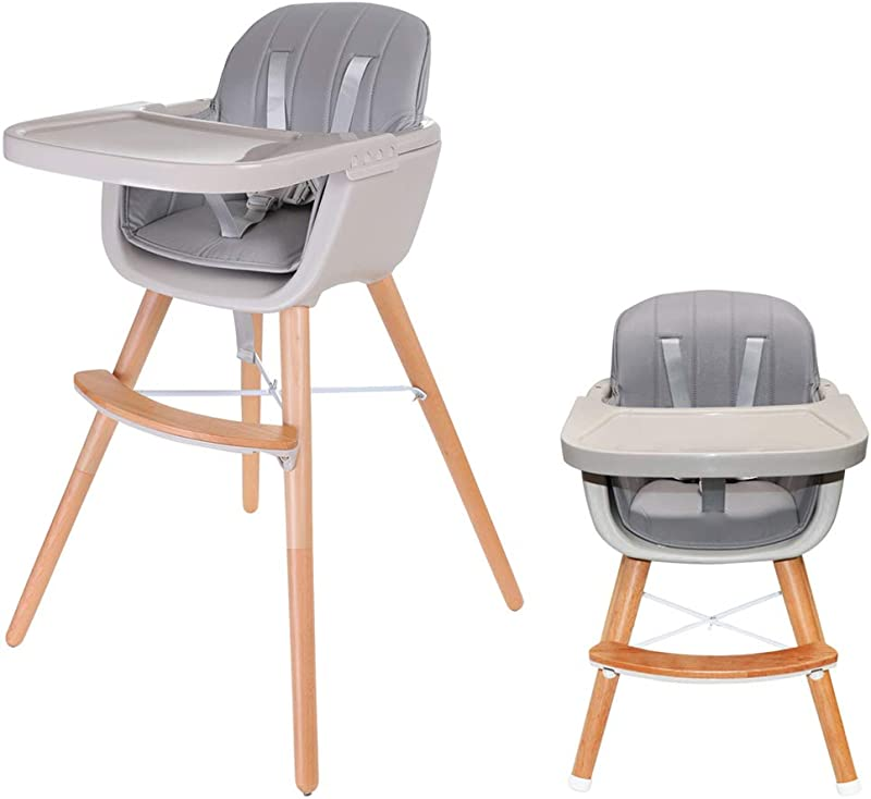Asunflower Wooden High Chair 3 In 1 Convertible Modern Highchair Solution With Cushion Adjustable Feeding Chair For Toddler Infant Baby