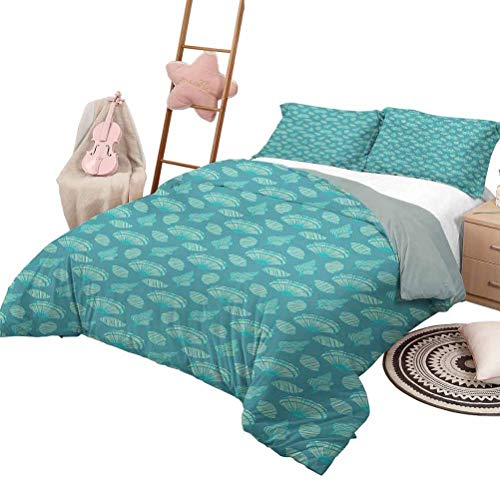DayDayFun Print Duvet Cover Seashells Luxe Bedding 3 Piece Quilted Bedspread Coverlet Set Artistic Marine Crustaceans with Striped Silhouettes Aquatic Fauna King Size Blue Turquoise and Cream