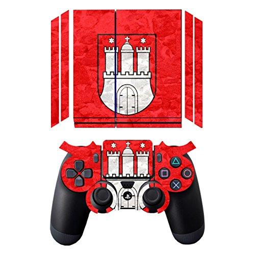 Disagu Design Skin für Sony PS4 liegend + Controller Design Folie - Motiv Hamburg