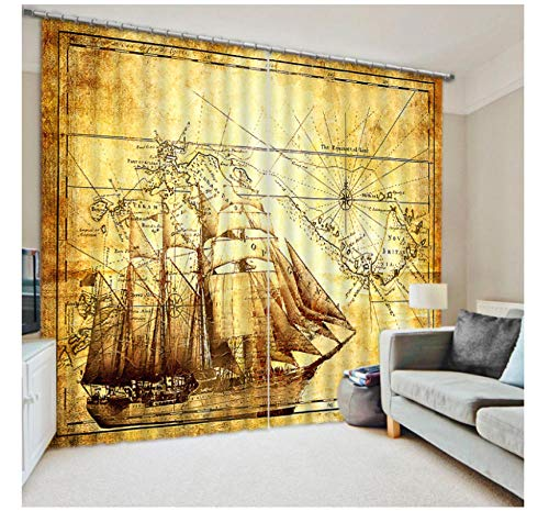 Aymsm Home Decor Modern Customize 3D Photo sailboat map Curtains Blackout Curtains For Living Room Bedroom Vintage