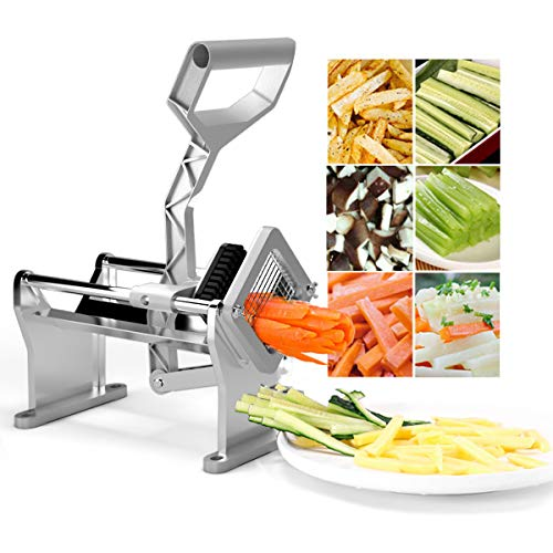 Goplus French Fry Cutter Fruit Vegetable Potato Slicer Commercial Grade W/ 4 Different Size Stainless Steel Blades 1/4', 1/2', 3/8' and a Round Blade