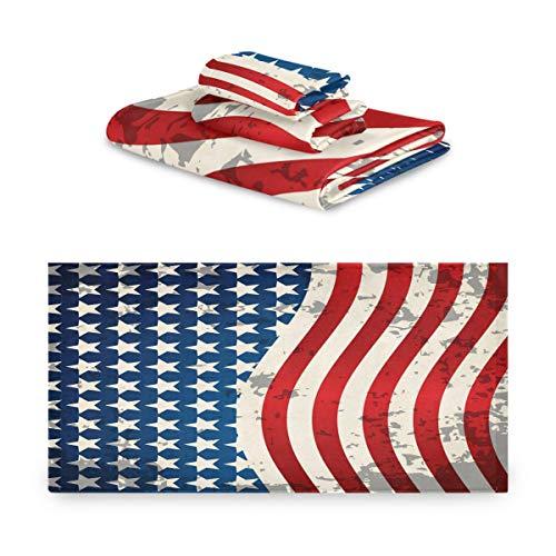 Juego de toallas CaTaKu de 3 piezas de toalla de baño con bandera estadounidense, 1 toalla de baño, 1 toalla de mano, 1 toalla de mano de la independencia de los Estados Unidos, juego de 3 toallas multifunción, suave para el hogar, cocina, hotel, gimnasio, natación, spa.