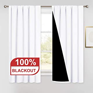 PONY DANCE White Blackout Curtains - (W 52 by L 54 inches, Pure White) Thick Double Layers Pocket Top Drapes Heavy Thermal Curtains Light Block Panels for Kids' Room, 2 Pieces