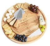 Permaggio Cheese Board and Knife Set, Wine and Cheese Serving Set, Lazy Susan Tray Charcuterie...