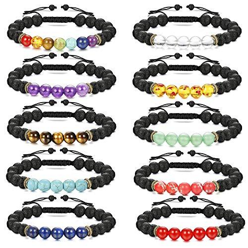 Finrezio 10 Pcs Bead Bracelets for Men Essential Oil Aromatherapy Diffuser Bracelet Women Natural Stone Yoga Bracelet Set(10 Pcs Adjustable)