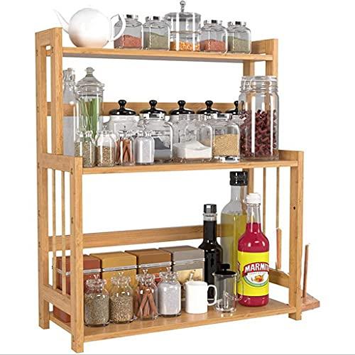 3-Nivel de pie Spice Rack Cocina Cuarto de baño Almacenamiento Organizador de Almacenamiento, Estante Cocina Cuarto de baño Almacenamiento de Almacenamiento, Spice Rack Natural de bambú