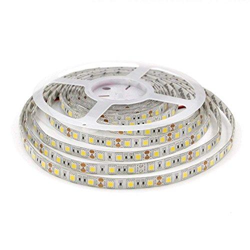 LEDMY DC12V Flexible Led Strip Light,SMD5050,300Leds,72W, 5M/16.4FT, IP62 Easy Waterproof Tape Lights, Daylight White 4000K for Kitchen, Bathroom, Under Cabinet Indoor Lighting.