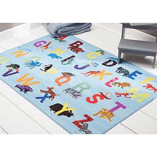 "Home Dynamix Eric Carle Elementary Alphabet Educational Kids Area Rug 6'6""x9'5"" Blue/Orange"