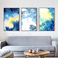 抽象的な青い雲のポスターとプリントキャンバスの絵画リビングルームの家の装飾アートワークのための壁の芸術の写真50x70cmx3pcsフレームなし
