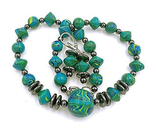 Schmuckset Damen Geschenk Handmade Perlenkette und Ohrringe türkis, grün, gelb, schwarz, Gesamtlänge Kette: ca. 43 cm