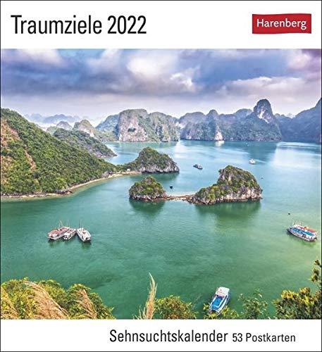Traumziele Kalender 2022: Sehnsuchtskalender, 53 Postkarten