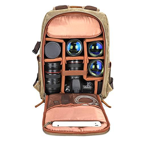 WANGXN DSLR Kamera Rucksack Leinwand Fotografie Tasche größere Kapazität im Freien wasserdichte Kameratasche für Nikon/Sony/Canon Objektiv (außer Fotografie-Tools)