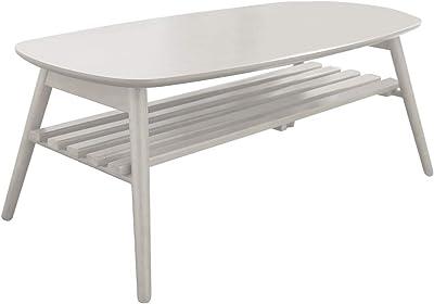 アイリスプラザ テーブル ローテーブル ノルン 折りたたみ 棚付き コンパクト 収納 ホワイト 幅100×奥行50×高さ40cm 6310-19SKV