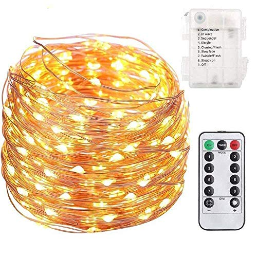 FSTgo Fairy String Light Batterij aangedreven 200LED Koperen Licht met Afstandsbediening Indoor en Outdoor Waterdichte String Lights voor Kerstboom Tuin Bruiloft Party 8 Mode 66ft 20M
