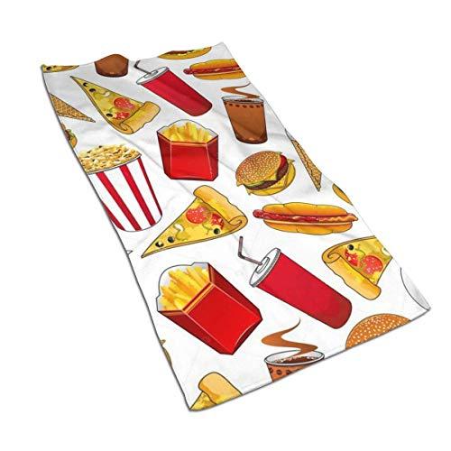 U/K Toallas de mano para hamburguesas, patatas fritas, helado, pizza, toalla de baño, ultra suave, muy absorbente, pequeña toalla de baño decoración de baño