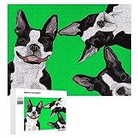 ジグソーパズルBoston Terrier Face、木質、成層なし、自家製デコレーション、すべての年齢層に適しています(500 PCS)