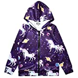 Unicorn Hoodie for Girls Sweatshirts Zip Up Jackets Star Unicorn Clothes
