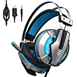 EKSA Gaming Headset for PS4, PC, Xbox One Controller, Noise Cancelling Over Ear Headphones with Mic, LED Light, Bass Surround, Soft Memory Earmuffs for Laptop Mac Nintendo Switch Games