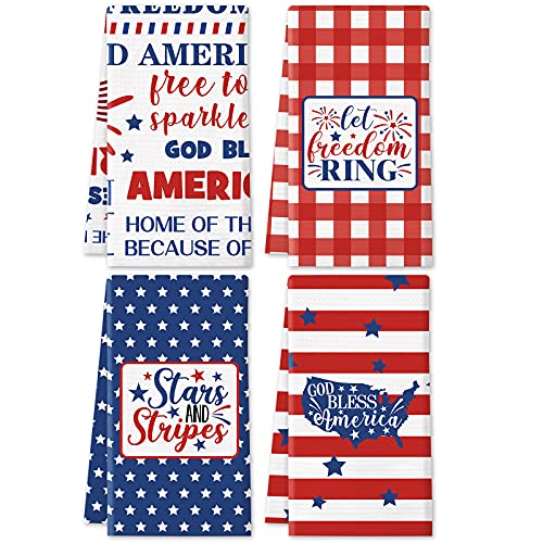 4th of July Kitchen Towels Set of 4 Waffle Fabric Dish Towels White Kitchen Hand Towels Kit Novelty Gifts for July 4th Patriotic Party Decor