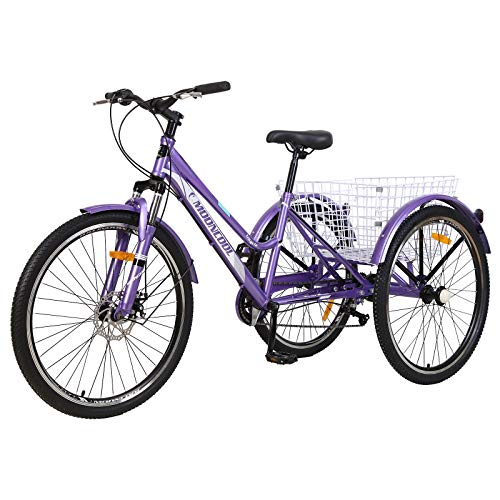 """VANELL Adult Mountain Tricycle 7 Speed Three Wheel Cruiser Trike Bike with Front Suspension Fork Front Disc Brake MTB Tire Bicycle Low-Step Through Frame (Upgrade-Purple, 26""""&7speed)"""