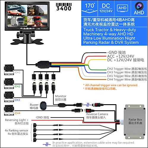 Purchase FEELDO 7inch Truck Tractor Heavy-Duty Machinery 4-Way AHD Ultra Low Illumination Night Visi...