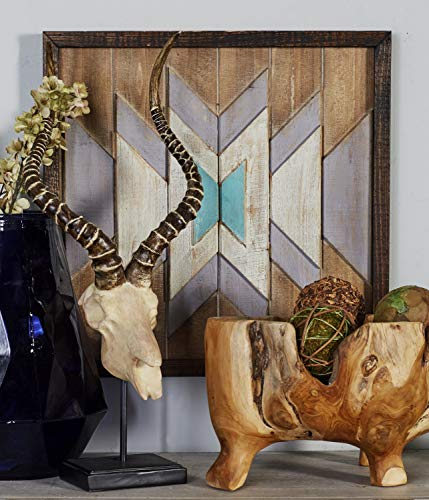Benzara 95452 Wood Wall Plaque, Brown, Dark Brown, White, Cyan, Blue