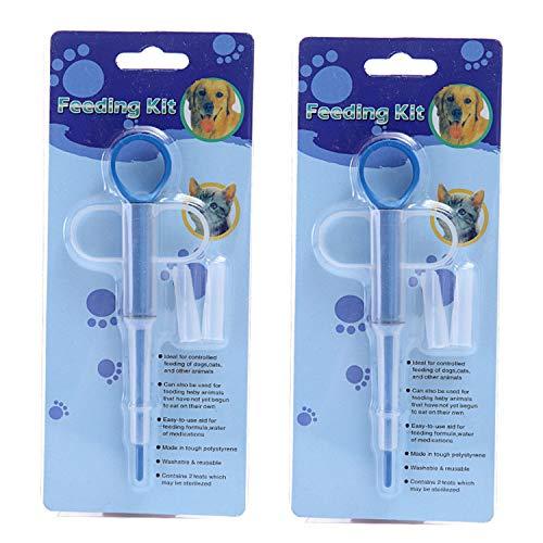 LIXIN Pet Medicine Feeder 2 Pack Cat Dog Puppy Soft Tip Medical Feeding Versus Control Rods,Pet Pill Dispenser Suit Blue