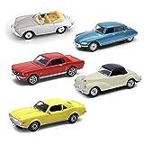 JRB Coches Miniatura Deportivos clásicos - 5 Coches de colección Escala 1:64 a 1:69