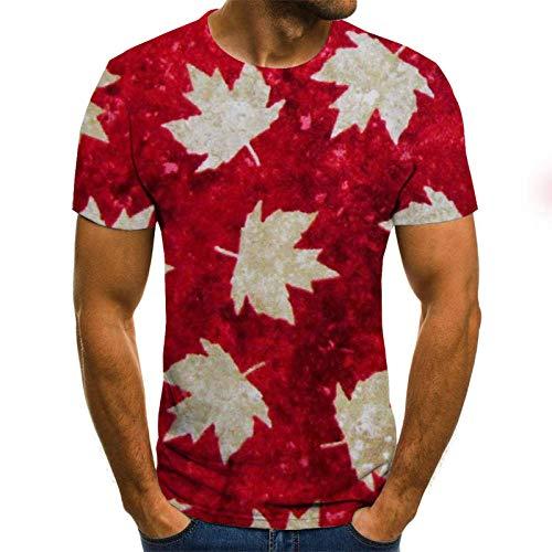 HGFHKL Three-Dimensional Maple Leaf 3D Printing Short-Sleeved Men's T-Shirt Summer Casual Round Neck T-Shirt Fun Pattern