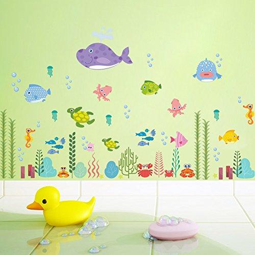 ElecMotive Aventura en el Mar Vinilo Pegatinas Decorativas Adhesiva Pared Dormitorio Salón Guardería Habitación Infantiles Niños Bebés