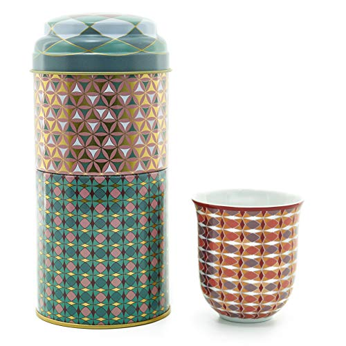 IMAGES D'ORIENT Geschenkset 2 in 1 Metalldosen mit 2 x 90ml Porcalain Espressotassen Espressobecher Moccatassen bunt orientalisch Gemustert Opera