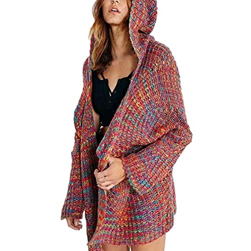 Xmiral Damen Outwear Langarm Winter Kapuzen Stricken Pocket Farbe Strickjacke Mantel (XL,Rot)