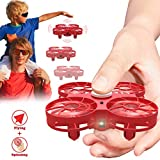 Flying Toy Drone for Kids, WEW Hand Operated Mini Drone Gift, Office Stress Relief Reducer USB Rechargeable Toy for Boys and Girls - Red