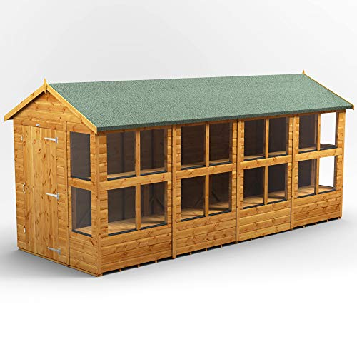 POWER | 16x6 Apex Potting Shed | 16 x 6 Wooden Garden Greenhouse Sheds | Super Fast Delivery